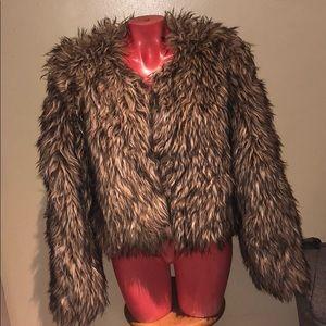 Sparkle & fade faux fur jacket top